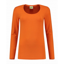 L&s t-shirt crewneck cot/elast ls for her - Topgiving